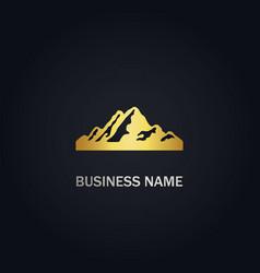 high mountain nature gold logo vector image