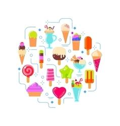Ice cream in circle shape vector image