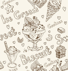 Ice cream seamless background vector image
