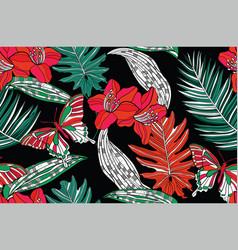 Jungle bright flowers vector
