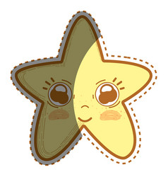 Kawaii cute star with big eyes and cheeks vector