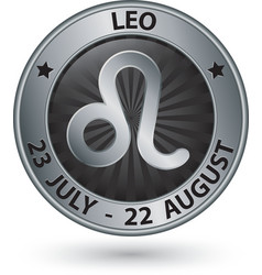 Leo zodiac silver sign leo symbol vector