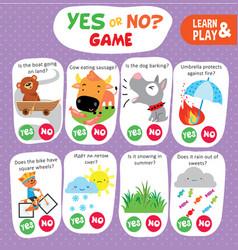 Logic kid learn yes no game printable worksheet vector