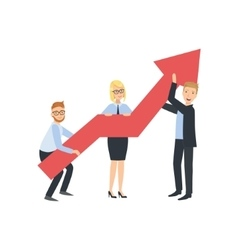 Managers Holing Arrow Showing Growth Teamwork vector