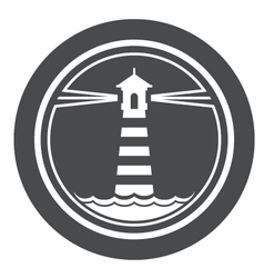 Maritime lighthouse icon with waves vector
