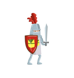 Medieval amed knight character with shield and vector