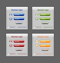 Member login website elements vector