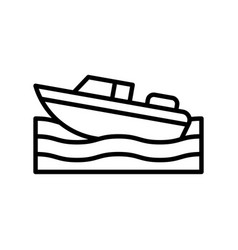 Motorboat summer holiday related line icon vector