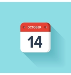 October 14 Isometric Calendar Icon With Shadow vector image