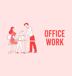 Office work effective and productive teamwork vector