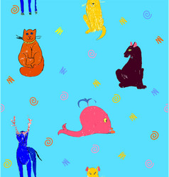 orange cat yellow dog brown panther deer blue vector image