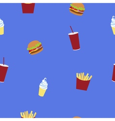 Pattern with french fry burger ice cream and soda vector