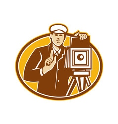 Photographer Vintage Camera Front Retro vector
