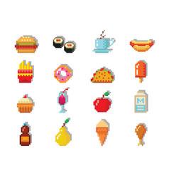 pixel art food computer design icons vector image