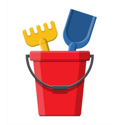 plastic bucket with rake and shovel vector image