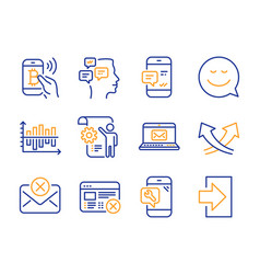 Reject mail smile and settings blueprint icons vector