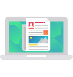Resume portfolio icon on laptop screen vector