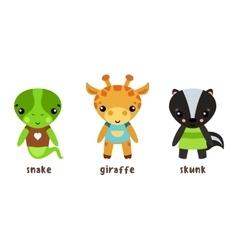 Safari giraffe and lizard snake baskunk icons vector