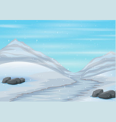Scene snow covered road with icy mountain b vector
