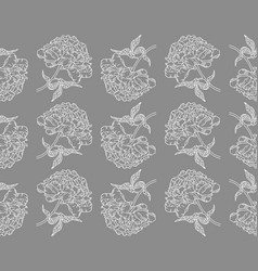 seamless pattern with peonies on gray background vector image