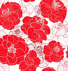Seamless Red Floral Patterned Wallpaper vector