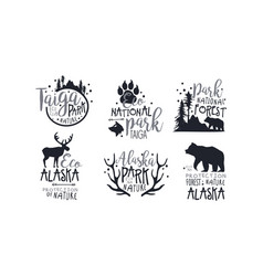 set black logos in support forest protection vector image