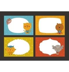 Set cartoon animal borders vector
