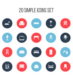 Set of 20 editable interior icons includes vector