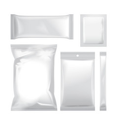 Set of white blank foil bag packaging for food vector
