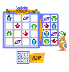 Shapes sudoku logic game vector