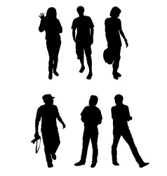 Silhouettes tourists vector