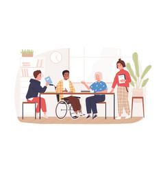 social inclusion people in wheelchair concept vector image