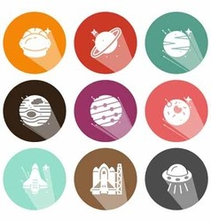 Solid icons planets and space shadow vector