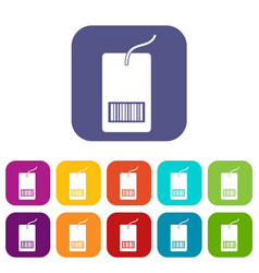 Tag with bar code icons set vector