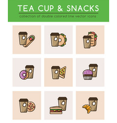 Tea cup with tea bag and different fast food vector