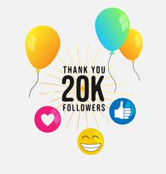 Thank you 20k followers banner template vector