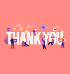 Thank you concept grateful blogger or media vector