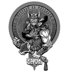 Thor a hand-drawn drawing design for t-shirt vector