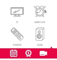 TV remote alarm clock and sound icons vector