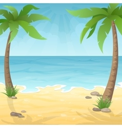 two palm trees on beach vector image