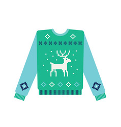 Ugly christmas sweater with knitted deer and snow vector