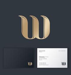 w monogram wind symbol golden letter bent vector image