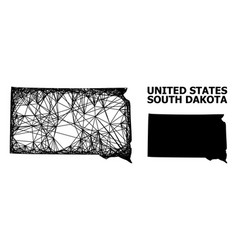Wire frame map south dakota state vector
