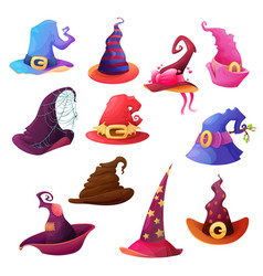 witch and wizard hat cartoon icons halloween vector image