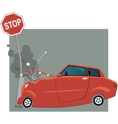 Car crashed into a traffic sign vector