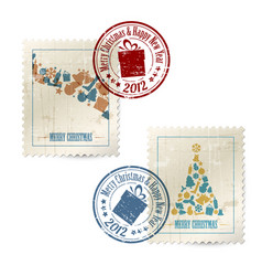 collection of vintage postage stamps vector image