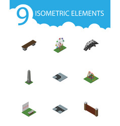 Isometric city set of turning road dc memorial vector