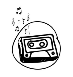 monochrome hand drawing of cassette tape in circle vector image