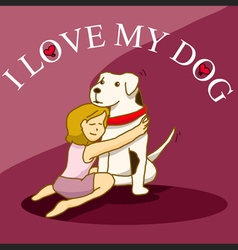 Woman hug her big dog vector image