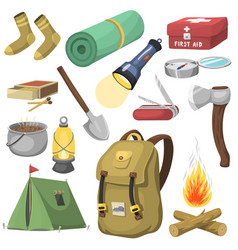 camping outdoor travel equipment cartoon style vector image vector image